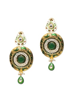 Round Traditional Golden Earrings - Vendee Fashion