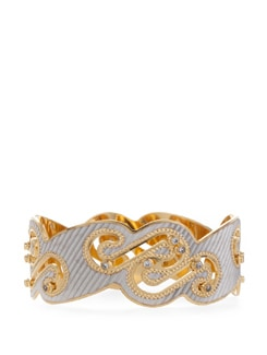 Elegant Golden And Silver-Tone Bangle - Vendee Fashion