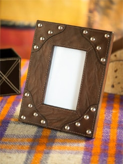 Leather Photo Frame With Metal Studs - Lthr