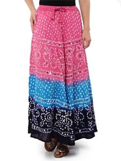 Pink & Blue Jaipuri Bandhej Long Skirt - Ruhaan's