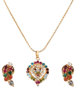 Gold Necklace Set With Multicoloured Stones - A.J. Accessories