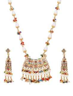 Fancy Multicoloured Necklace With Earrings - A.J. Accessories