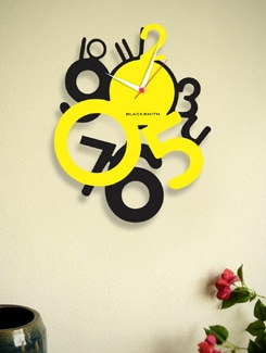 Black And Yellow Analog Wall Clock - BLACKSMITH