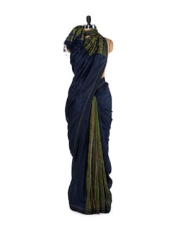 Green And Blue Striped Silk Saree - Story Of Weaves