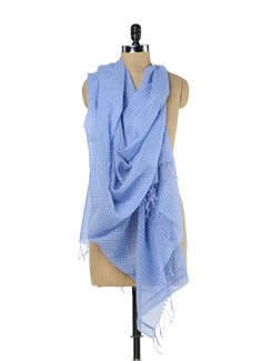 Handwoven Sky Blue Scarf - Story Of Weaves