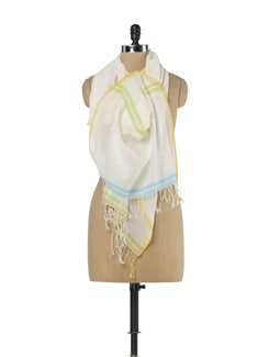Handwoven Cotton Scarf With Jamdani Buti- Blue And Green - Story Of Weaves