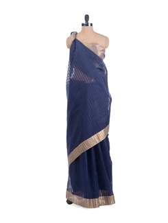 Navy Chanderi Silk Cotton Saree - URBAN PARI