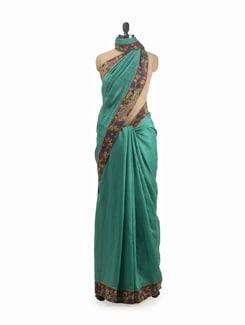 Green Tussar Kalamkari Saree - URBAN PARI