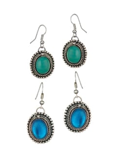 Green And Blue Stone Earrings Combo - Art Mannia