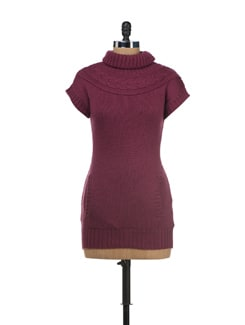 Purple Knitted Turtle-neck Pullover - SPECIES
