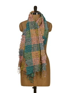 Crushed Scarf In Multi Coloured Checks - HOS Designs