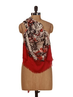 Printed Red And Black Scarf - HOS Designs