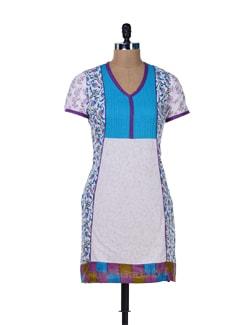 Printed White Cotton Kurta - Jaipurkurti.com