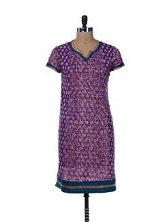 Multi Print Purple Cotton Kurta - Jaipurkurti.com