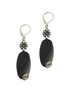 Oval Black Stone Earrings - Eesha Zaveri; Jewellery By Design