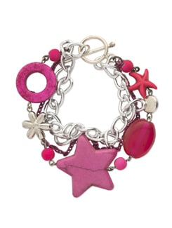 Pink & Silver Charm & Chain Bracelet - Eesha Zaveri; Jewellery By Design