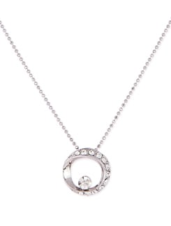 Silver Necklace With A Stone Studded  Ring Style Pendant - Sanchey