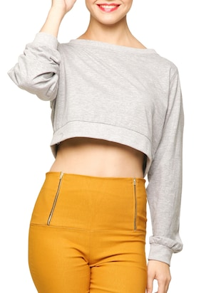 Grey Long Sleeve cotton Crop Top