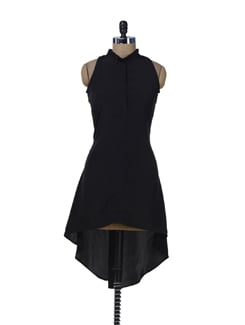 Elegant Black Asymmetric Dress - Miss Chase