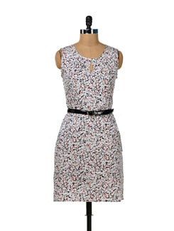 Grey & White Keyhole Heart Dress - MARTINI