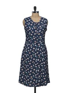 Printed Navy Front Open Dress - Nineteen