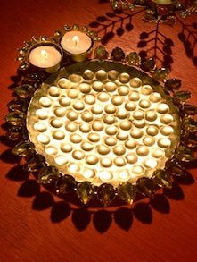 Artful Gold Tea Light Candle Holder - Ambbi Collections