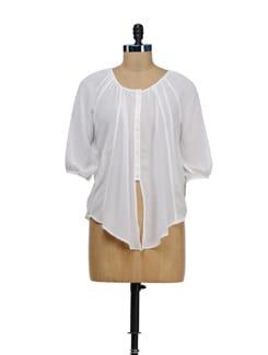 Stylish White Tie Up Shirt - Besiva