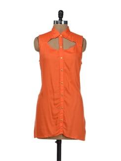 Orange Tunic With Keyholes - Remanika