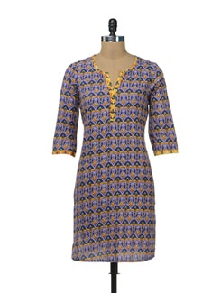 Elegant Printed Blue Kurta - Cotton Curio