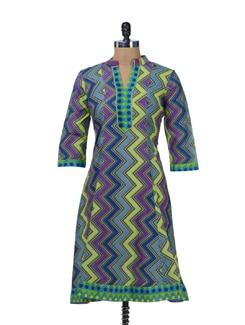Purple Zig-Zag Print Kurta - Cotton Curio