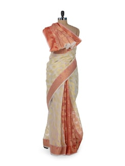 Off White Saree With A Touch Of Red - Bunkar