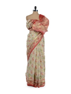 Gorgeous Off White Saree With Zari Work - Bunkar