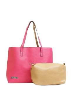 Hot Pink Bag With A Tan Pouch - Lino Perros