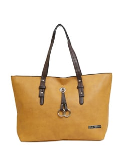 Big Yellow Handbag With Chocolate Brown Embellishments - Lino Perros