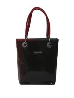 Sleek Handbag In Dual Shades Of Red And Black - Lino Perros