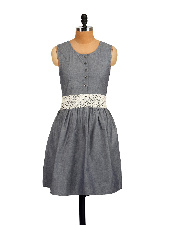 Grey Lace Waist Dress - Myaddiction