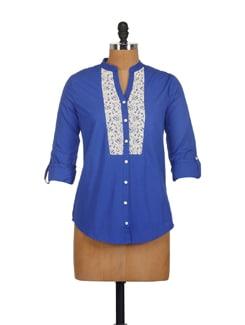 Royal Blue Lace Bib Shirt - Myaddiction