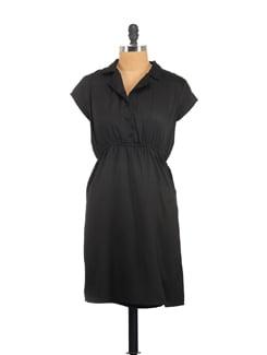 Black Lapel Collar Dress - Myaddiction