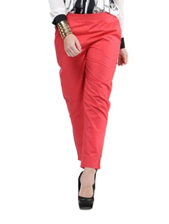 Tomato Red Straight Fit Pants - Myaddiction