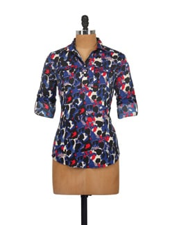 Blue Abstract Print Shirt - Myaddiction