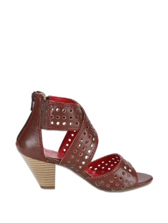 Striking Brown Sandals With A Dash Of Red - La Briza