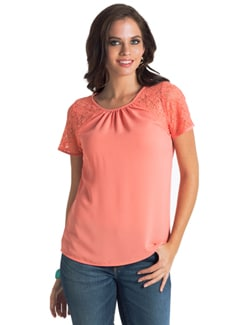 Coral Lace Gathered Top - PrettySecrets