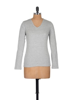 Grey Casual Top With Full Sleeves - GRITSTONES