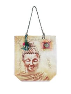 Beige Buddha Print Tote Bag - The House Of Tara