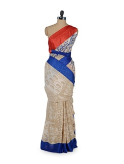 Printed Beige Saree With Contrast Border - ROOP KASHISH