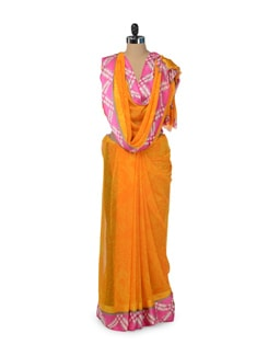Printed Orange & Pink Saree - ROOP KASHISH