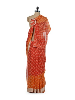 Orange Shell Print Saree - ROOP KASHISH