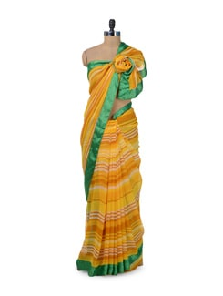 Yellow & Green Striped Saree - ROOP KASHISH