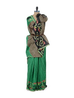 Emerald Green Printed Saree - ROOP KASHISH