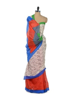 Chic Orange Graffiti Saree - ROOP KASHISH